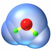 Water molecule ball and stick 3w