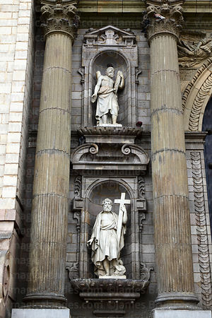 Statues of saints on main entrance facade of cathedral, Lima, Peru
