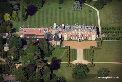 aerial photograph of Sandringham House, Sandringham Norfolk England UK