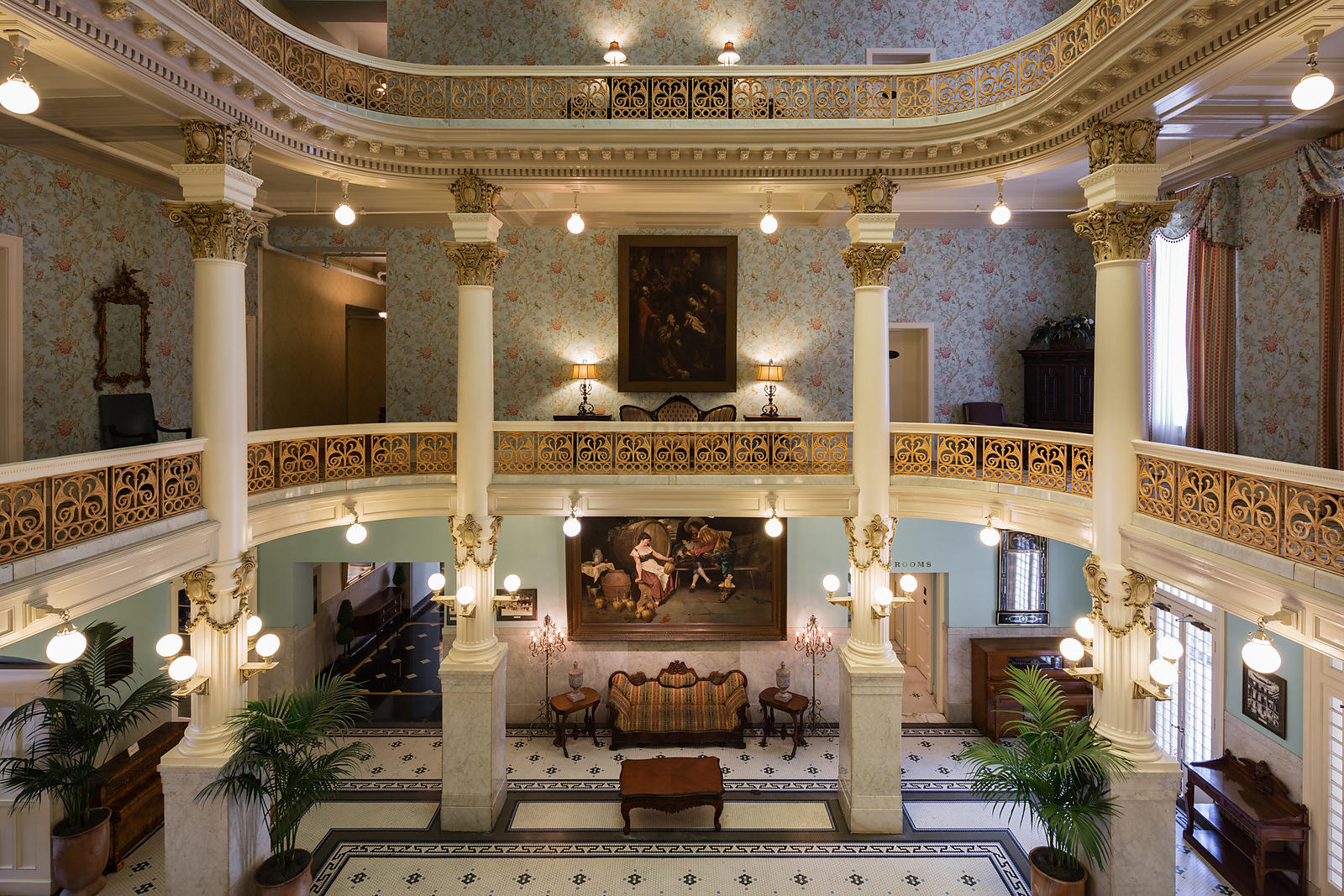 The Atrium of the Historic Menger Hotel Built in 1859