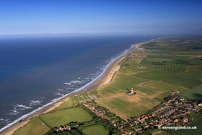 aerial photograph of  the Norfolk Coast at Happisburgh