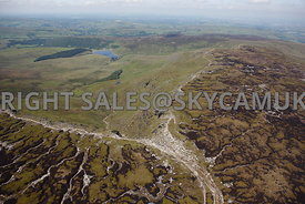 Peak district aerial photograph of Kinder Downfall Kinder Scout Peak District National Park