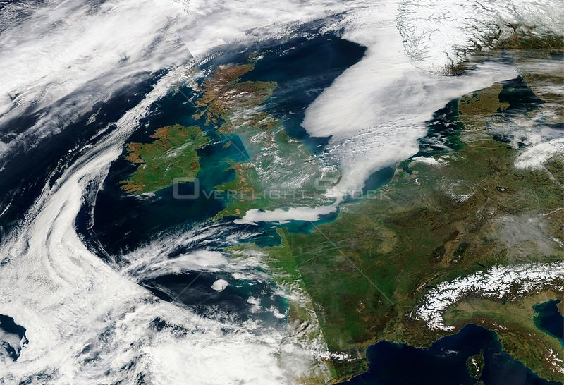 EARTH Western Europe -- 10 Apr 2015 -- This NASA MODIS satellite image from 09 Apr 2015 (latest available today as the satellite has yet to pass over Europe) showing a build up of air pollution over south-eastern England.