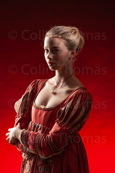 Italian princess with red background photos