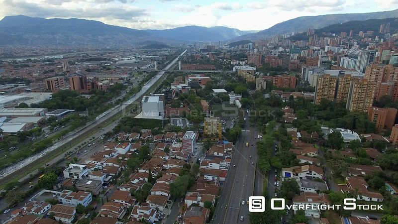 Highway Through Medellin Colombia Drone Footage