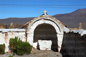 Niche / posa  in corner of courtyard of Nuestra Señora de los Remedios church, Lagunas village, Sajama National Park, Bolivia