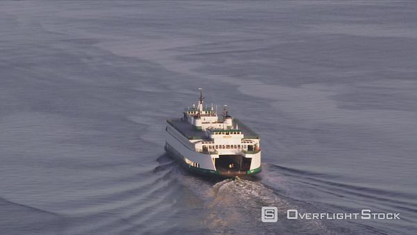 Seattle, Washington Aerial view of Ferry in Puget Sound.  Shot with Cineflex and RED EpicW Helium.