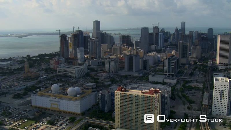 Slow flight over downtown Miami.