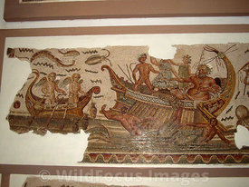 Roman Mosaic depicting a fishing scene, Bardo Museum, Tunisia, Landscape