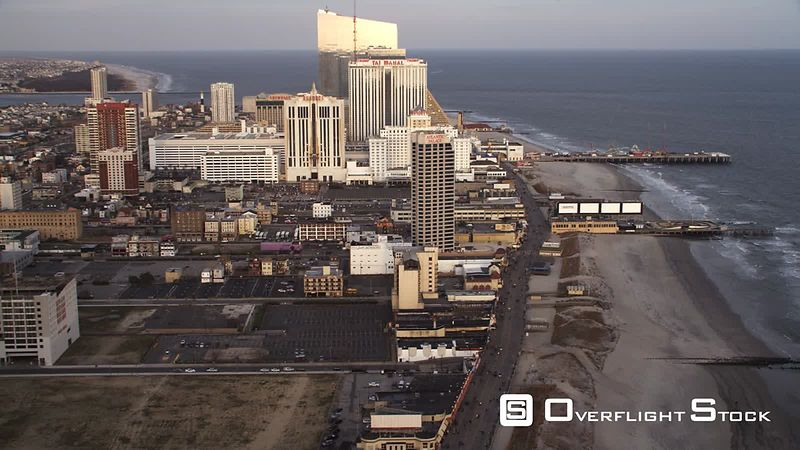 Flying past casino resorts along the Boardwalk in Atlantic City, New Jersey. Shot in November