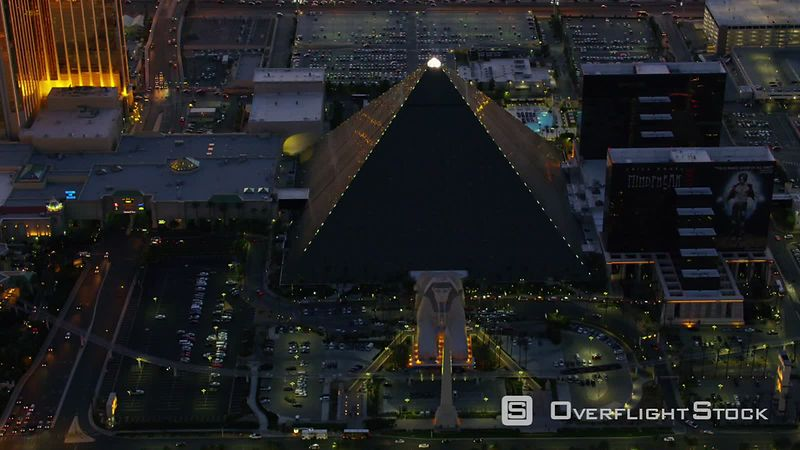 Las Vegas, Nevada Aerial view of Luxor hotel at night.  Shot with Cineflex and RED EpicW Helium.