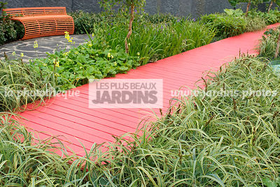 Bench, Contemporary garden, Perennial, Red, Resting area, Wooden footbridge, Digital, Grasses