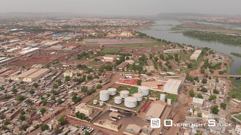 Aerial view of Bamako city during the rainy season, filmed by drone, Mali - drone stock footage