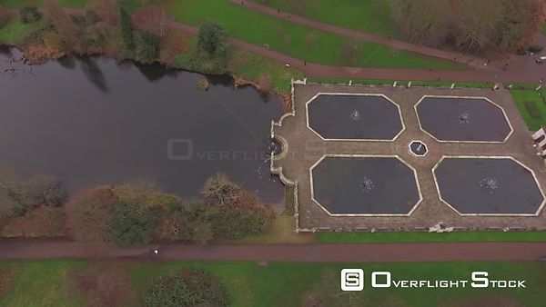 Drone Video Hyde Park Italian Water Gardens in Winter London England