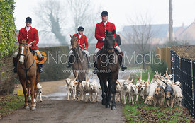 Huntsman and hounds arrive at the meet at Barleythorpe