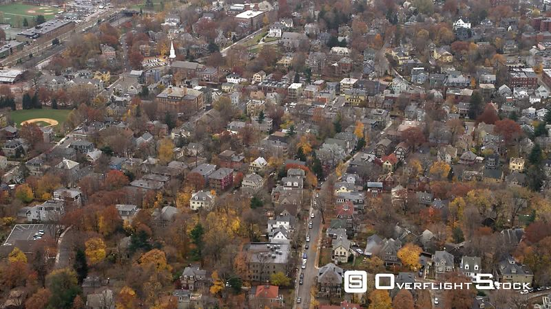 Flying over residential neighborhood on Boston's southside.