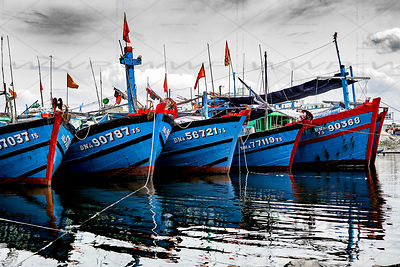 Fishing Boats Harbor Da Nang Vietnam Art Photographs