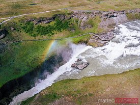 Aerial drone view of Gullfoss waterfall, Iceland