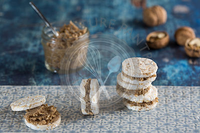 Rice Cakes with Walnut Butter Filling.