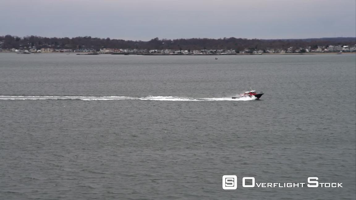 Flying Southwest of New Haven, Connecticut, Boat N Water. Shot in November