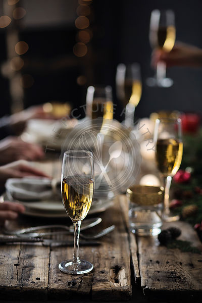 People having party. Christmas time. Holiday celebration table setting