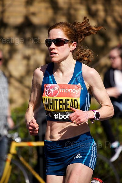 Amy Whitehead (13th) GB Running at the 2014 Virgin London Marathon