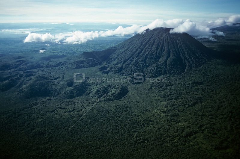 Aerial view of Visoke volcano, Virunga NP, Democratic Republic of Congo (formerly Zaire)