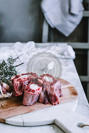 Oxtail meat on a chopping board