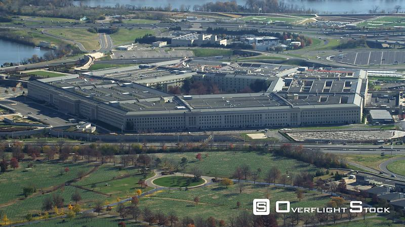 Over Arlington National Cemetery, flying past the Pentagon. Shot in November