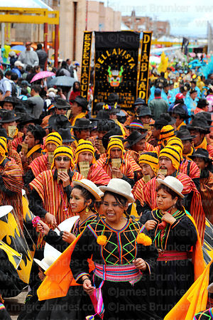 Indigenous dancers and musicians at Virgen de la Candelaria festival, Puno, Peru