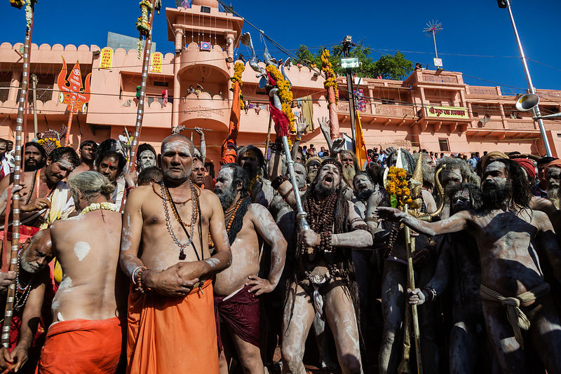 A Gathering of Naga Sadhus at Ram Ghat During the Simhasth Kumbh Mahaparv Mela