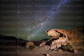 Eroded volcanic rock formations and Milky Way, Nor Lípez Province, Bolivia