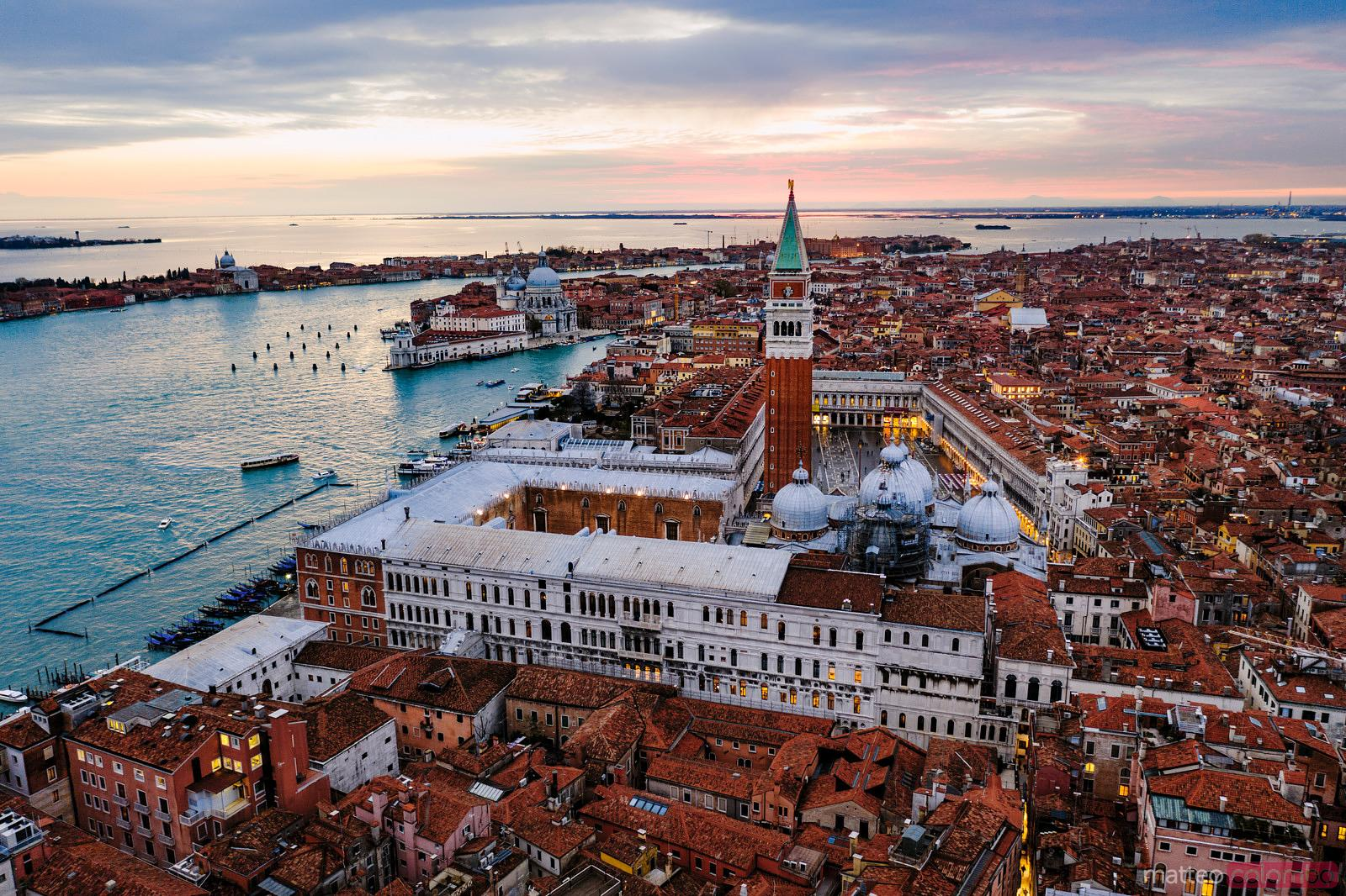 St Mark's square at sunset, aerial view, Venice