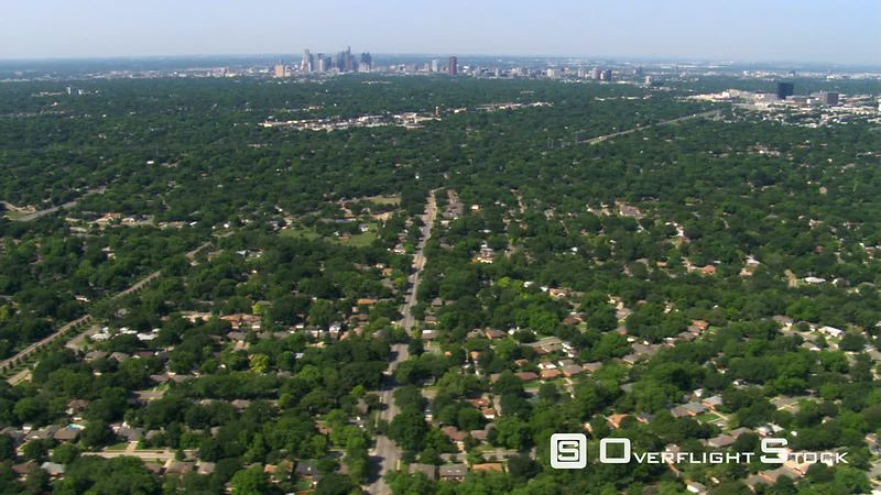 Flying over suburban neighborhoods of Dallas, Texas