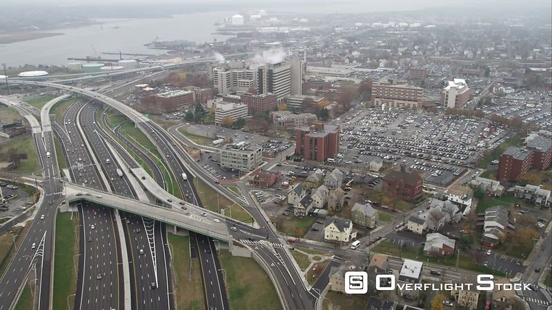 Over Freeways and Industrial Area in Providence, Rhode Island. Shot in November