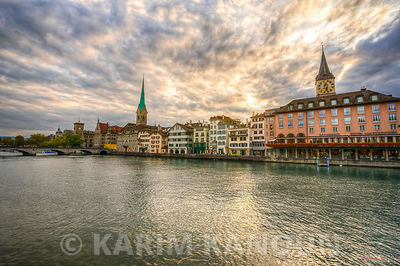 Dramatic sunset with colorful building - Zurich