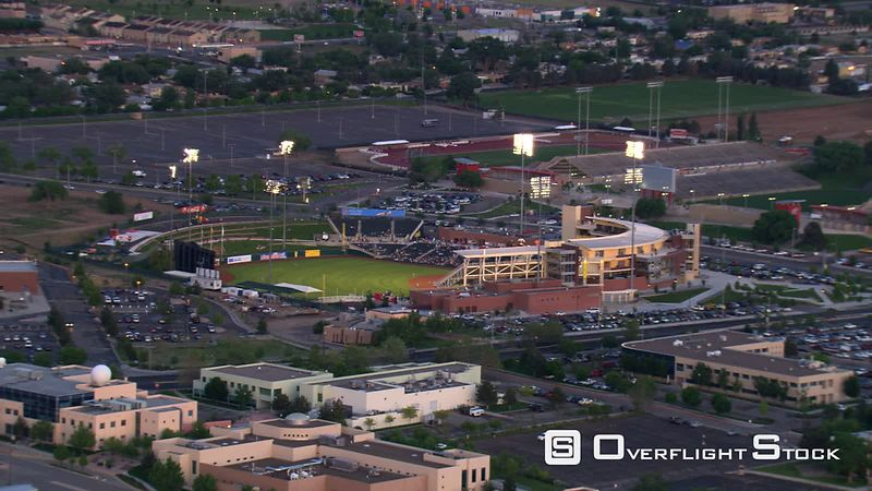 Mid-level flight past baseball stadium, home of Albuquerque Isotopes.