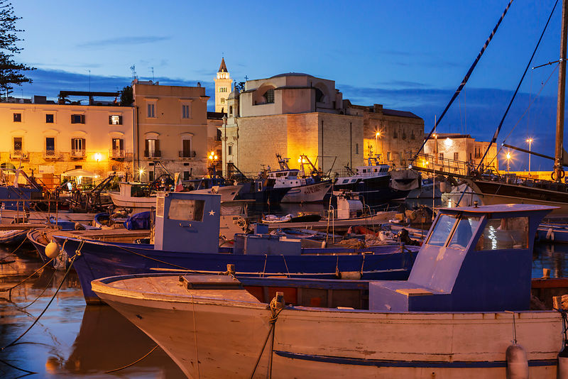 The Fishing Harbour at Trani at Dusk