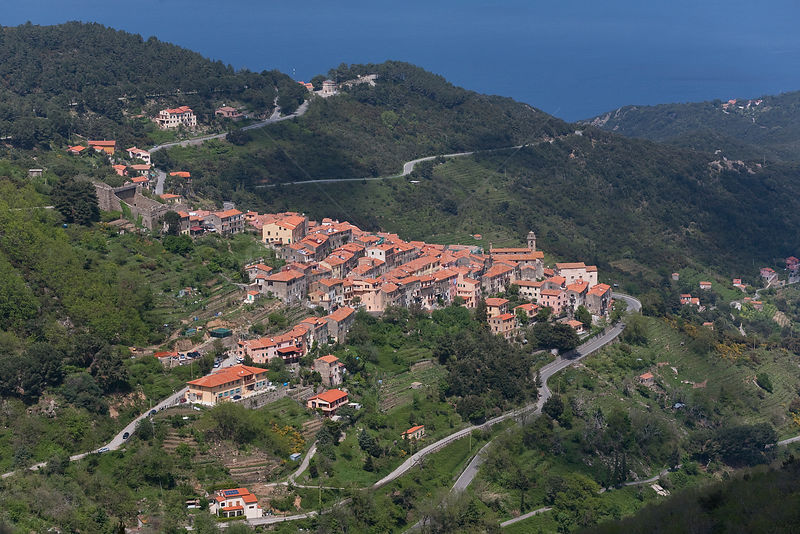 Aerial view of the village of Marciana, Elba island, Italy, May 2010