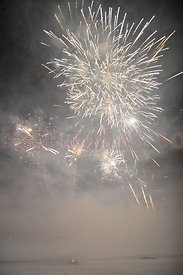 Firework on frozen Lake of Saint Moritz on New Year