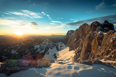 Austria, Salzkammergut, Sunset at  Dachstein mountains