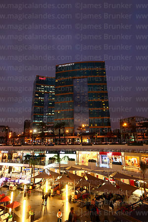 JW Marriott Hotel and Larcomar shopping mall at sunset, Miraflores, Lima, Peru