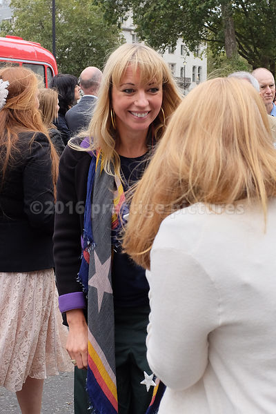 Radio & TV Personality Sara Cox talking to a fan after the Terry Wogan Memorial Service at Westminster Abbey