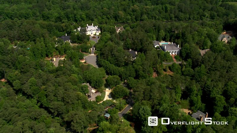High flight over luxury estates near Atlanta, Georgia.