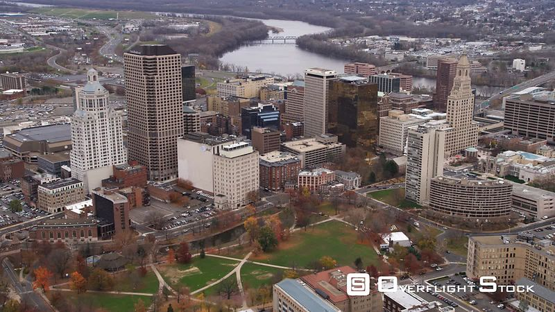 Aerial Flyover of Hartford, CT from the West.