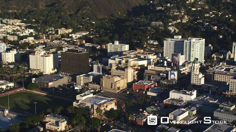 Flying past Trailer Park building and Hotel Roosevelt in downtown Hollywood. Shot in October