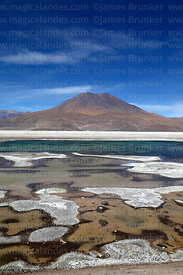 Lakes in Salar de Ascotan and Ararat volcano, Region II, Chile