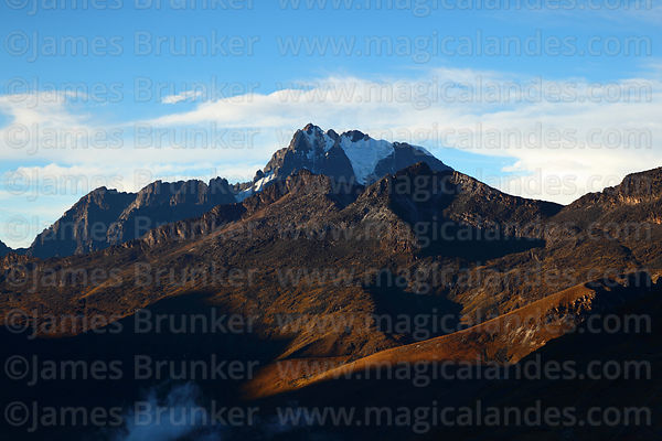 Late afternoon sunshine on hillside above Zongo Valley and Mt Tikimani, Cordillera Real, Bolivia