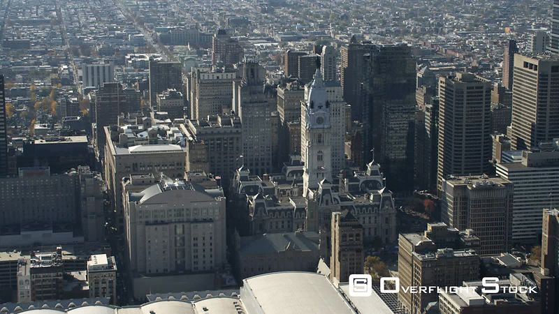 Aerial View of Philadelphia City Hall and Downtown.