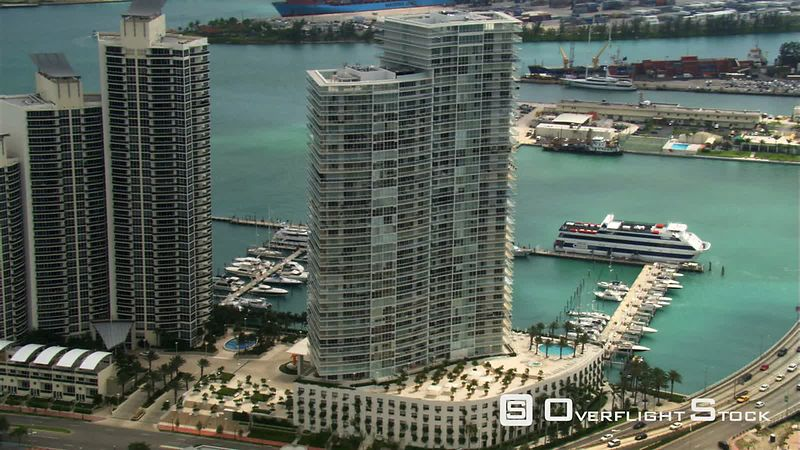 Aerial view of Miami marina.